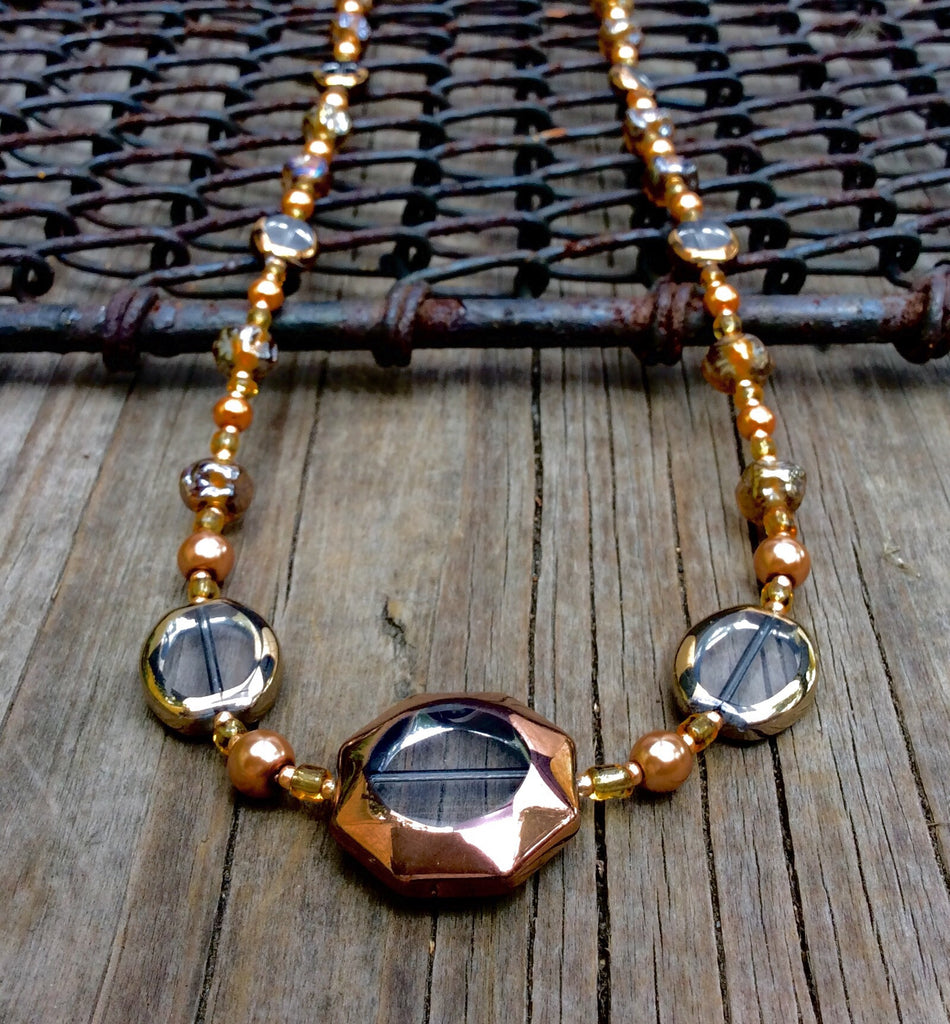 Bronze and Gold Pearl Table-Cut Glass Necklace