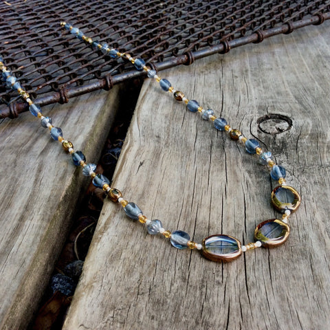 Bronze Oval Table-Cut Glass Necklace