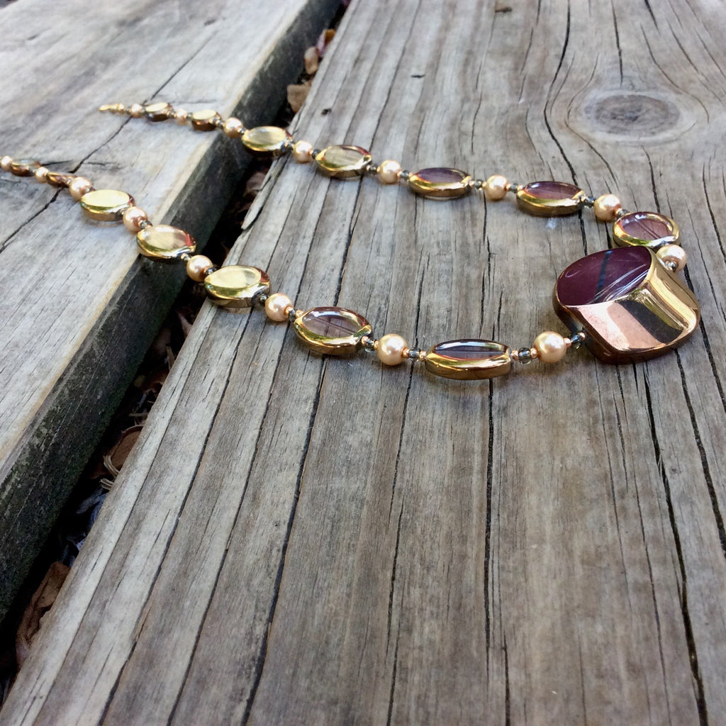 Gold and Pearl Table-Cut Glass Necklace