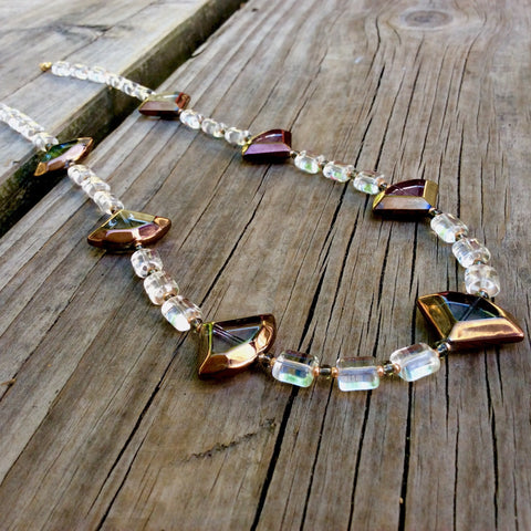 Bronze Tripoint Table-Cut Glass Necklace