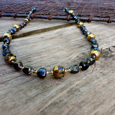 Dark Blue and Gold Orb Table-Cut Glass Necklace