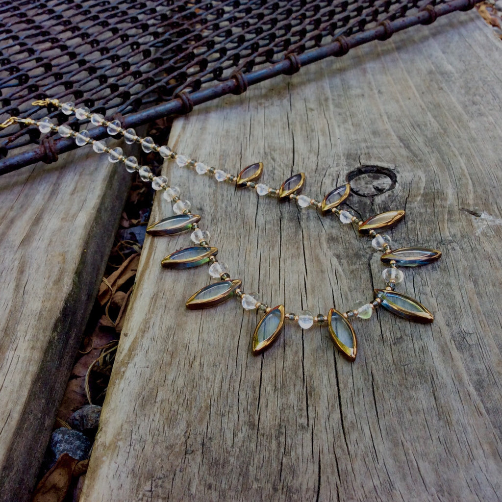 Grey Spear Table-Cut Glass Necklace