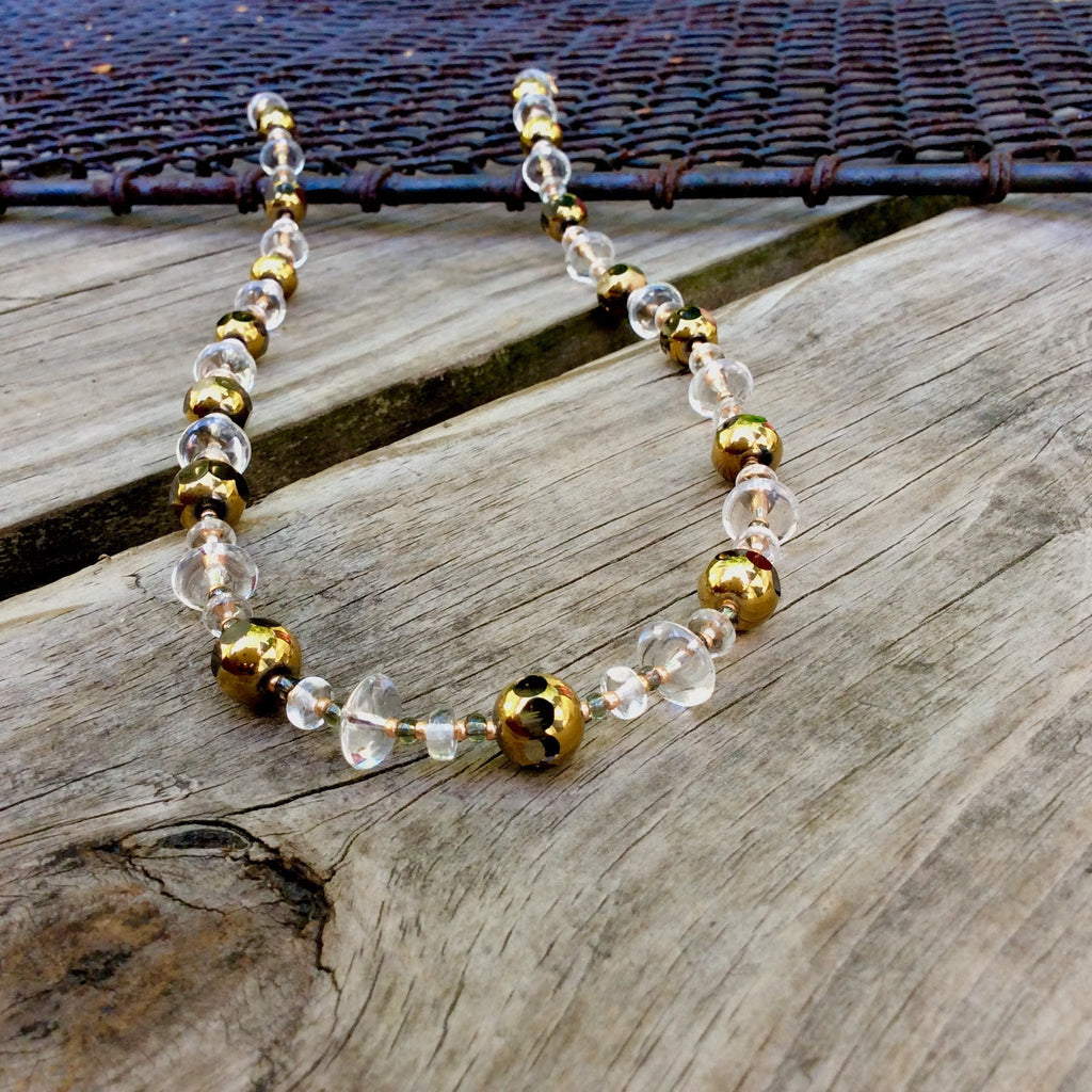 Golden Orb Table-Cut Glass Necklace