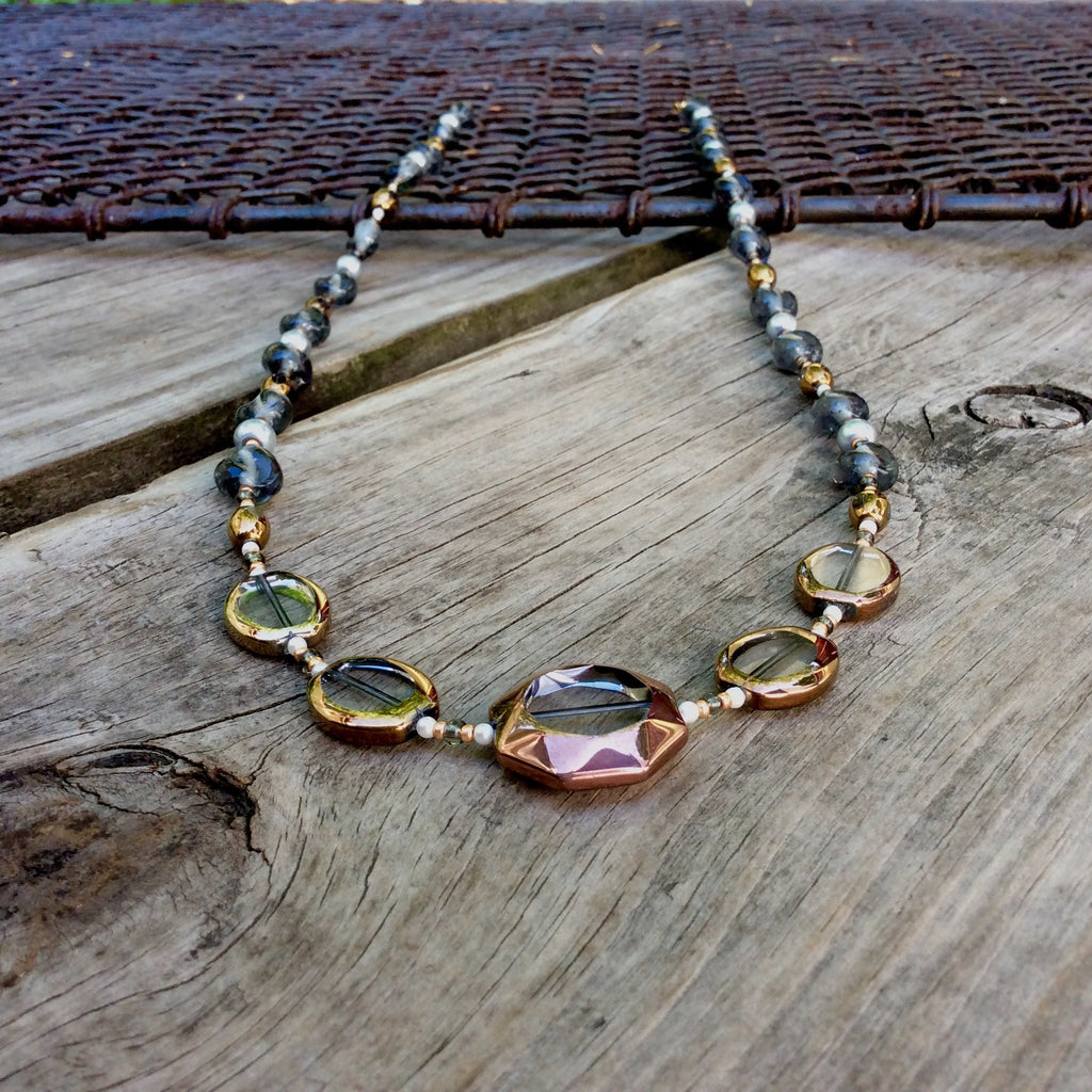 Gold and Bronze Table-Cut Glass Necklace