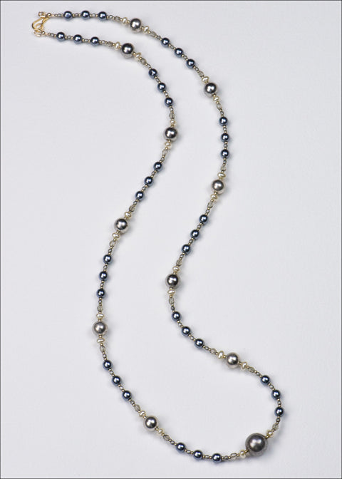 Royal Blue Pearl and Metal Necklace