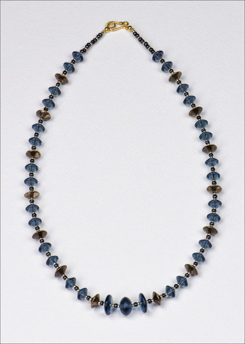 Blue and Bronze Disk Necklace
