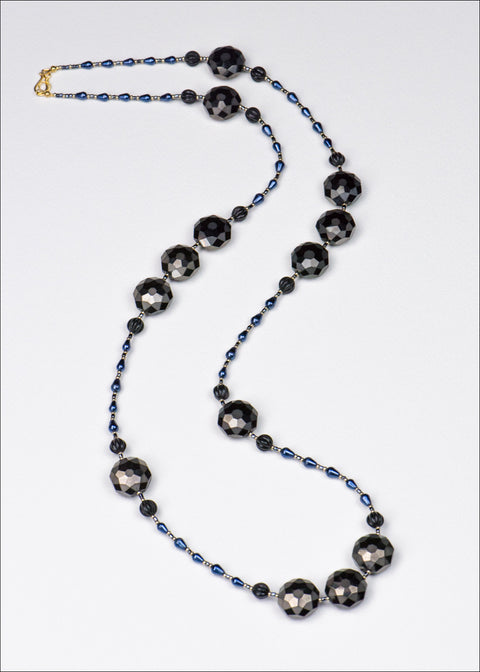 Black and Blue Glass Necklace