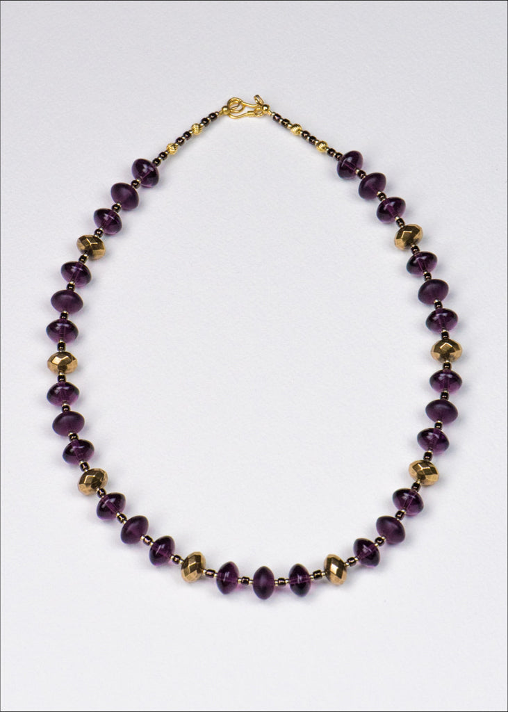 Purple and Gold Glass Necklace