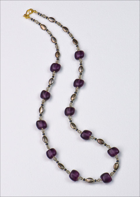 Purple and Grey Glass Necklace