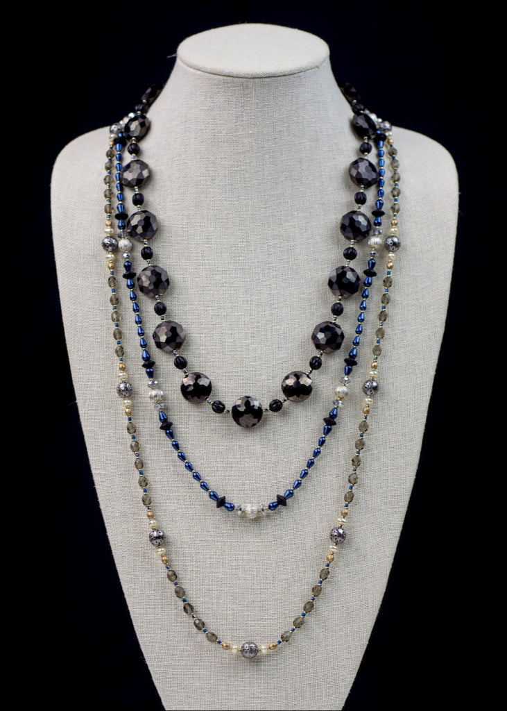 Dark Blue and Silver Necklace