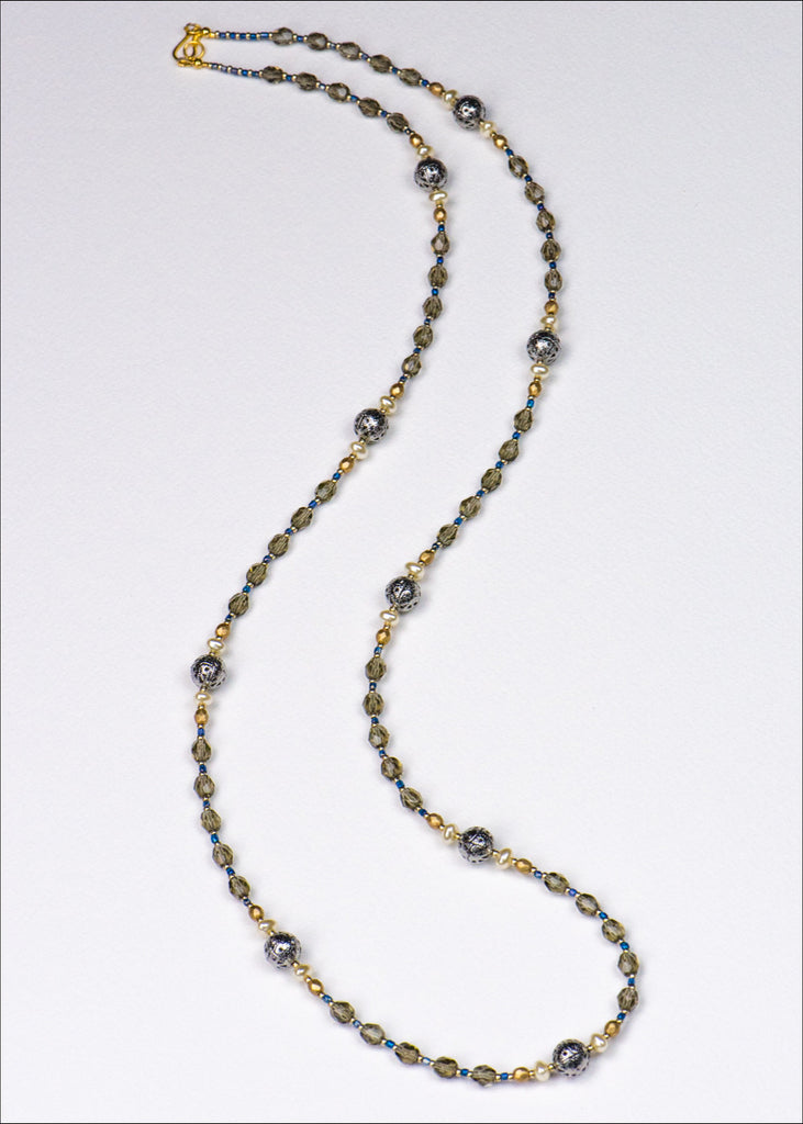 Grey and Gold Glass Necklace