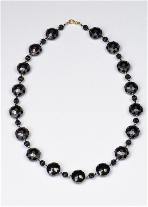 Black Faceted Glass Necklace