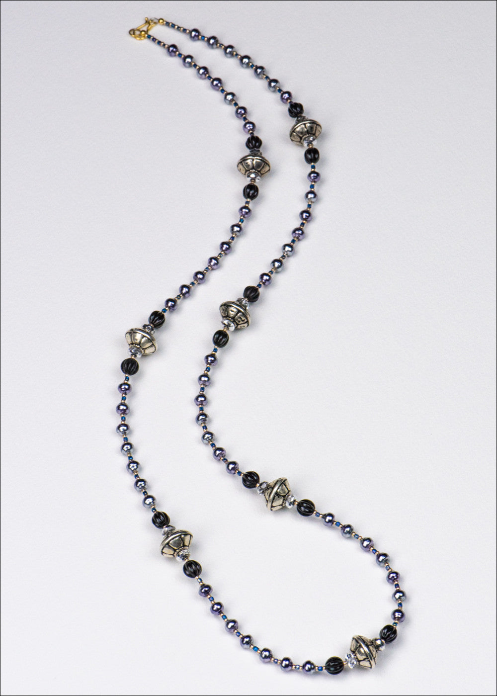 Purple and Silver Glass Necklace