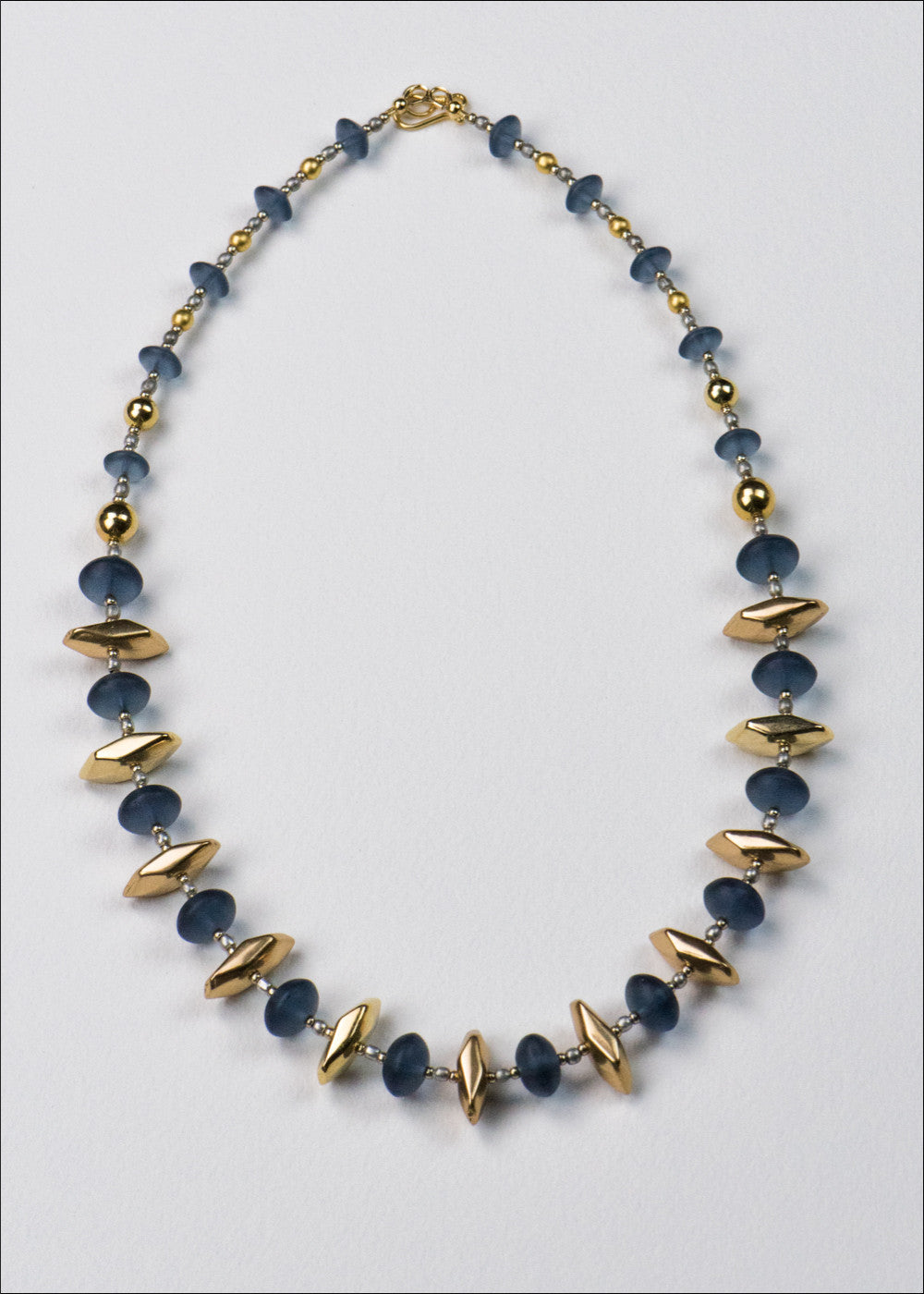 Blue and Gold Spike Necklace