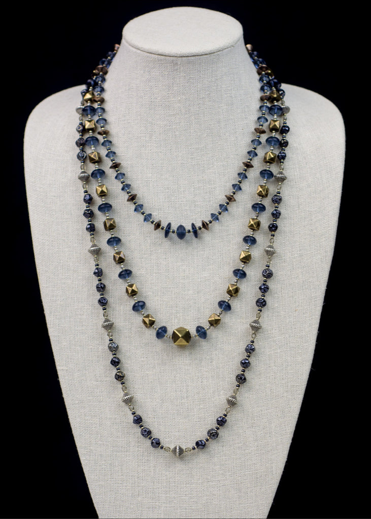 Blue and Gold Faceted Cube Necklace