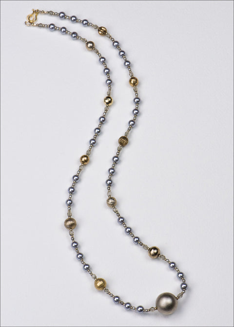 Blue and Gold Metal Necklace