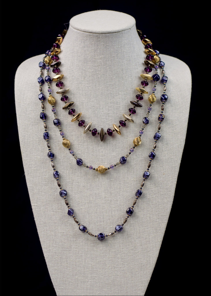 Gold and Purple Glass Necklace