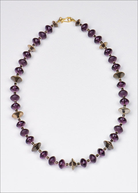 Purple Glass and Metal Necklace