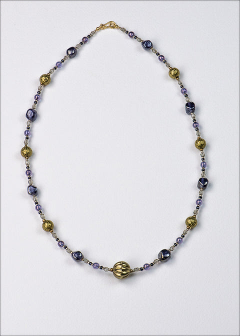 Purple Artisan Glass and Metal Necklace