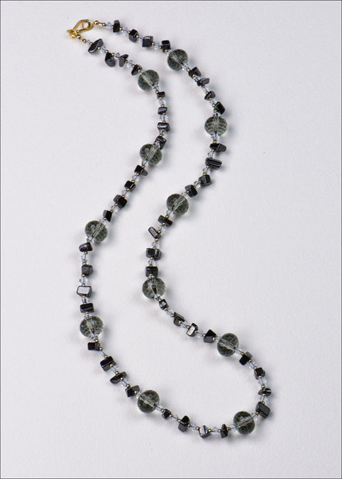 Grey and Black Glass Necklace