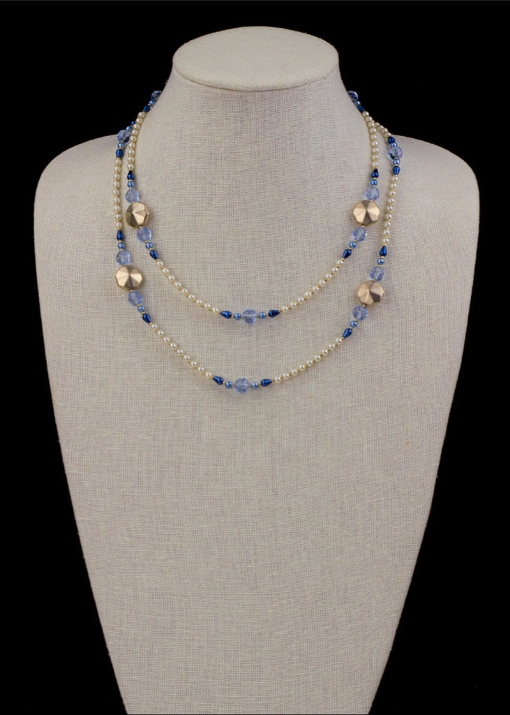 Gold and Sky Blue Pearl Necklace