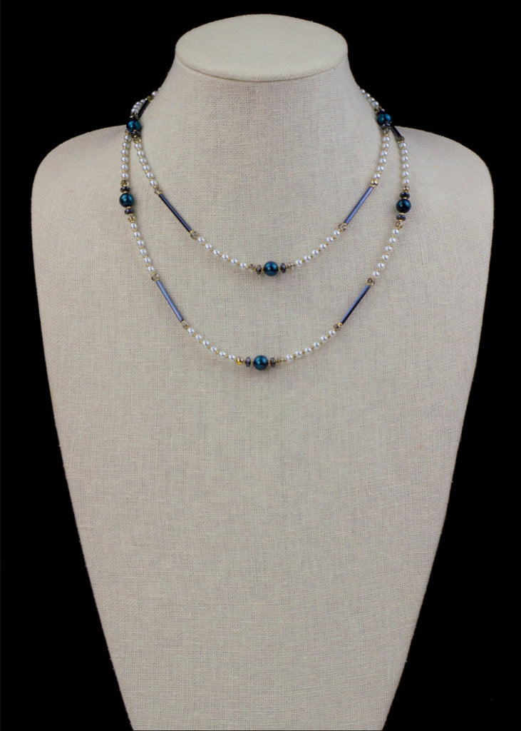 Black and Indigo Pearl Necklace