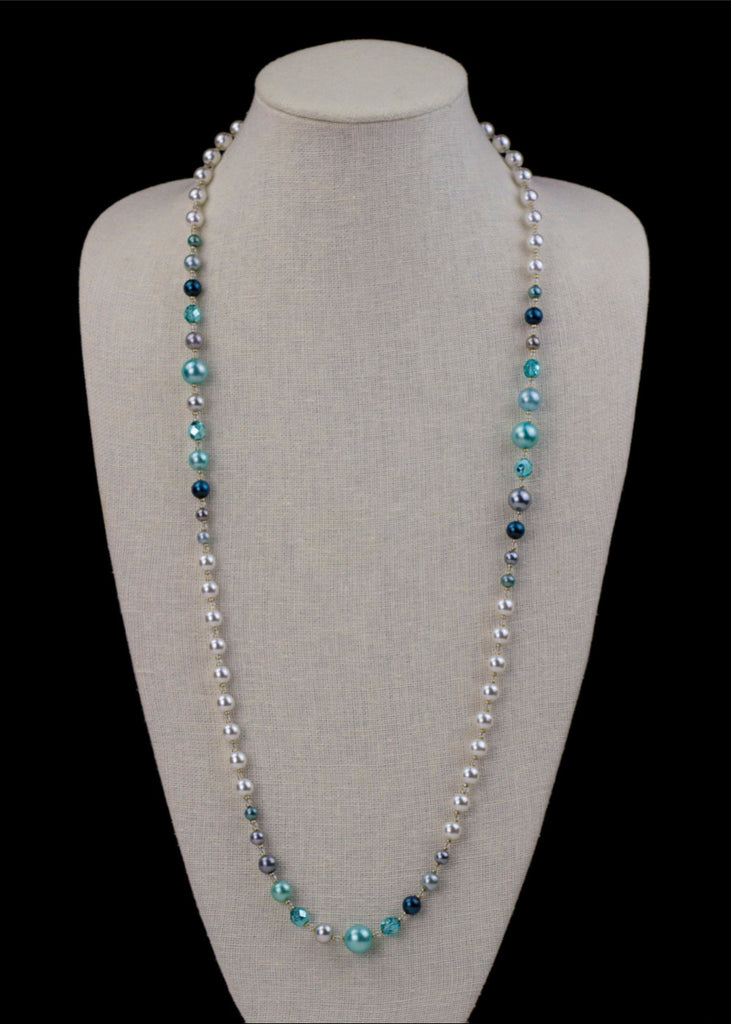 Shifting Blue Pearl Necklace