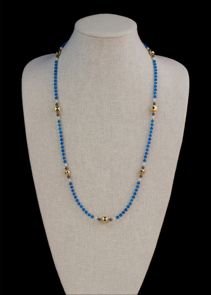 Blue Agate and Faceted Cube Necklace
