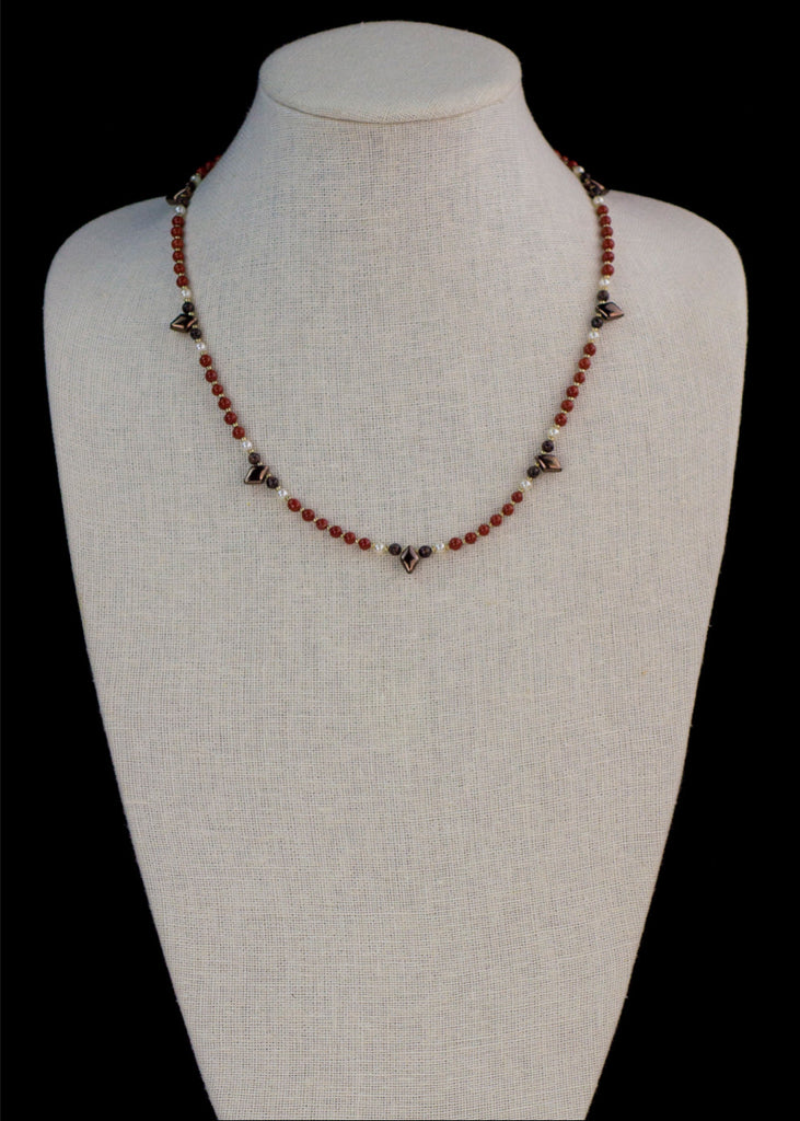 Red Stone and Spike Necklace