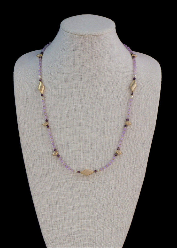 Purple Amethyst and Spike Necklace
