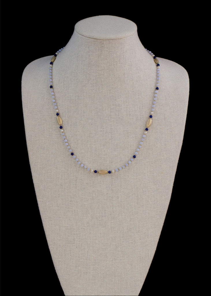Gold and Blue Stone Necklace