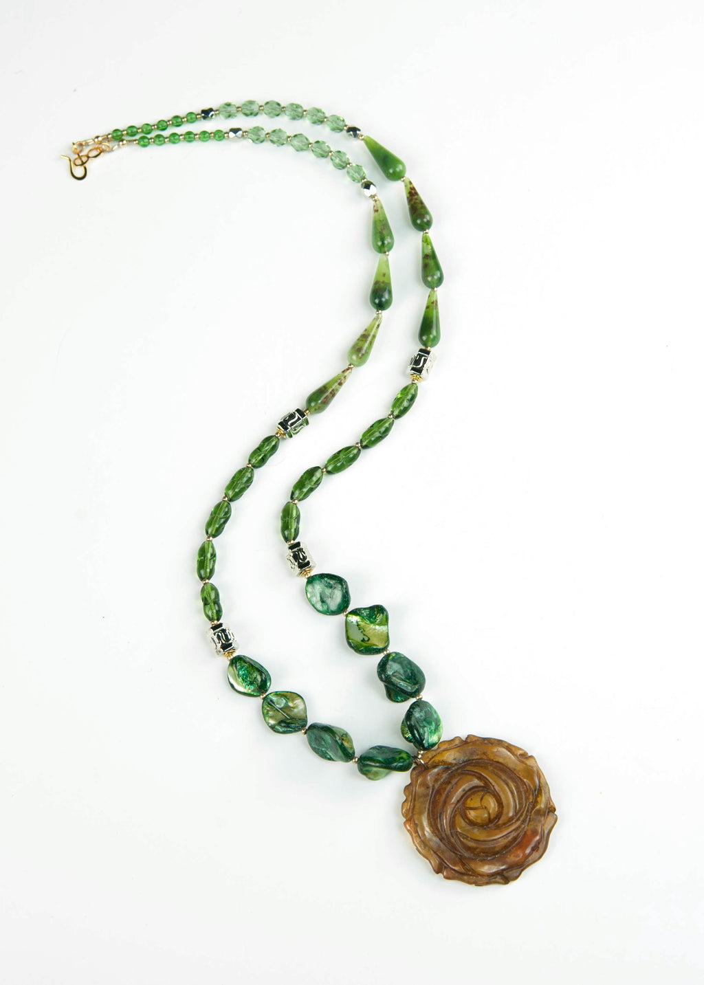 Green and Silver Rose Jade Pendant Necklace