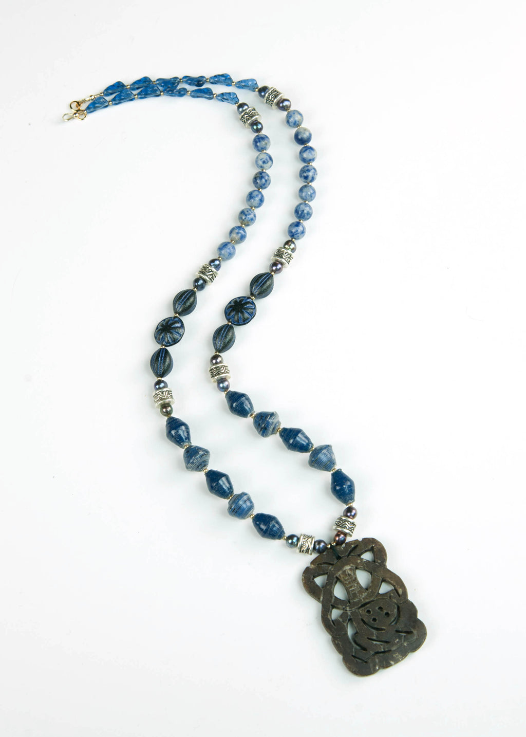 Blue Trade Bead and Jade Pendant Necklace