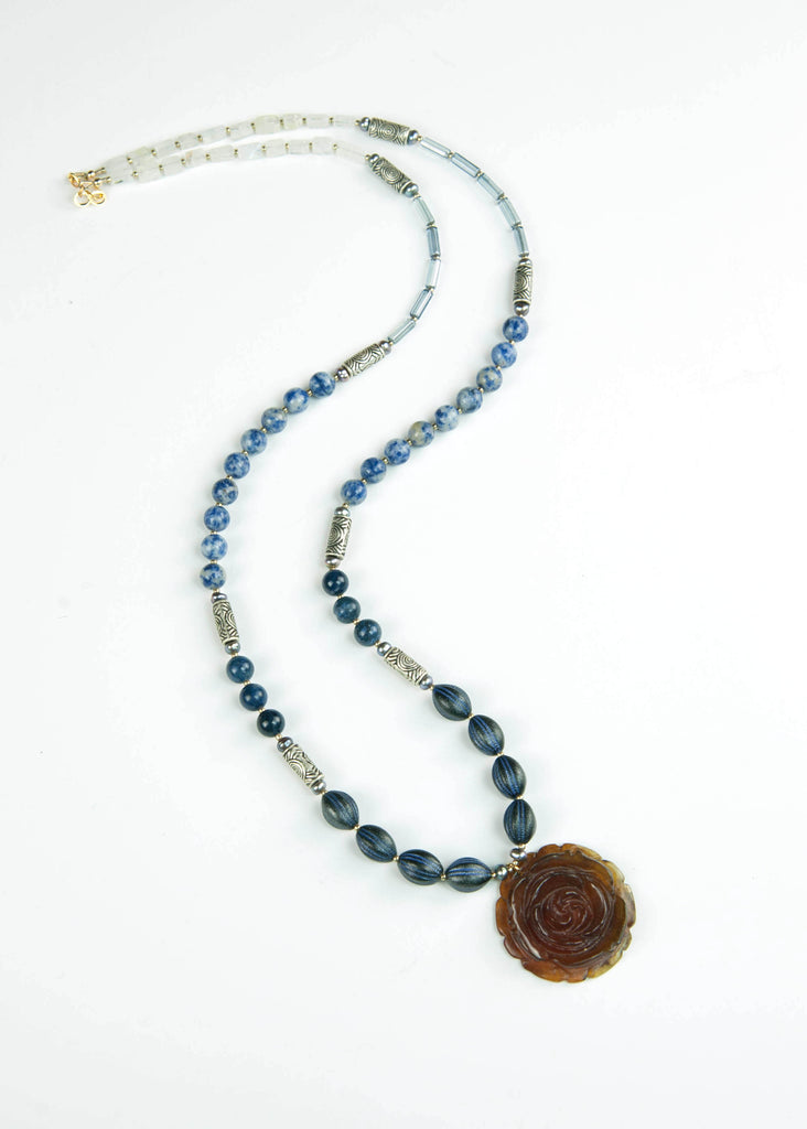 Blue and Silver Rose Jade Pendant Necklace