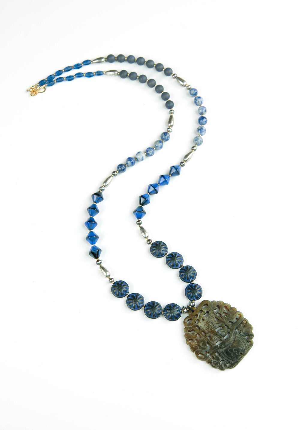Dark Blue Temple Jade Pendant Necklace