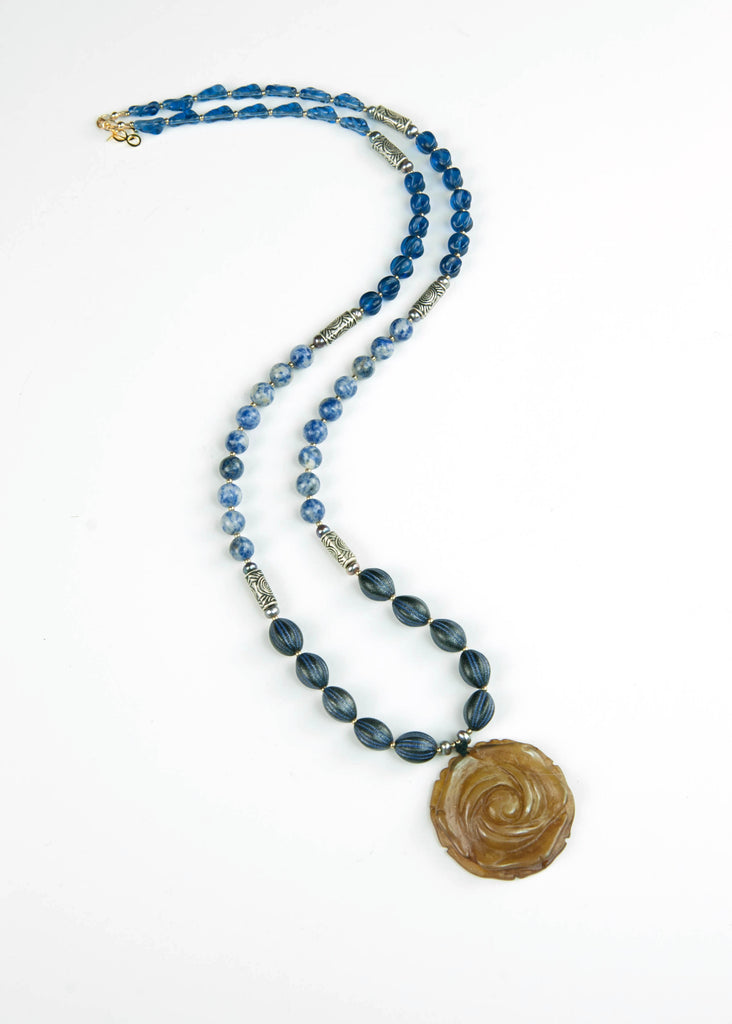 Blue Sea Glass and Rose Jade Pendant Necklace