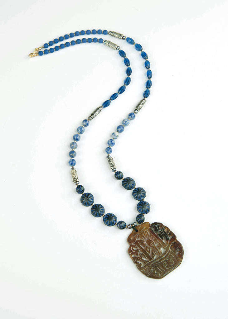 Blue and Silver Jade Pendant Necklace