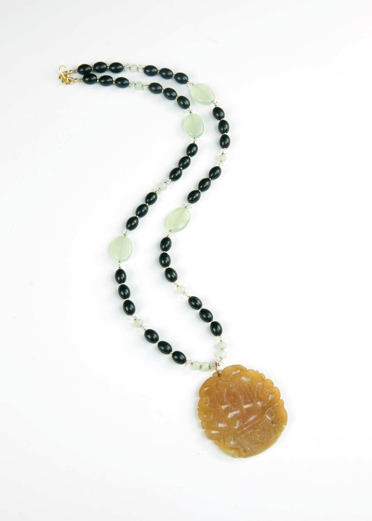 Green and Black Temple Jade Pendant Necklace