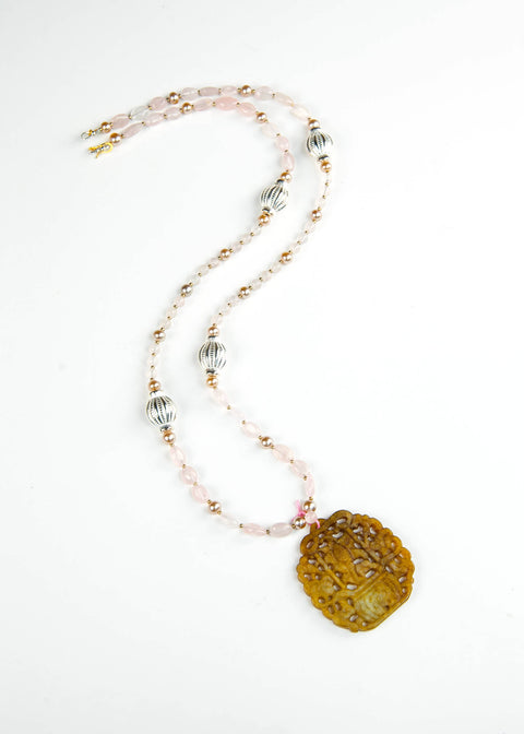 Pale Pink and Silver Jade Pendant Necklace