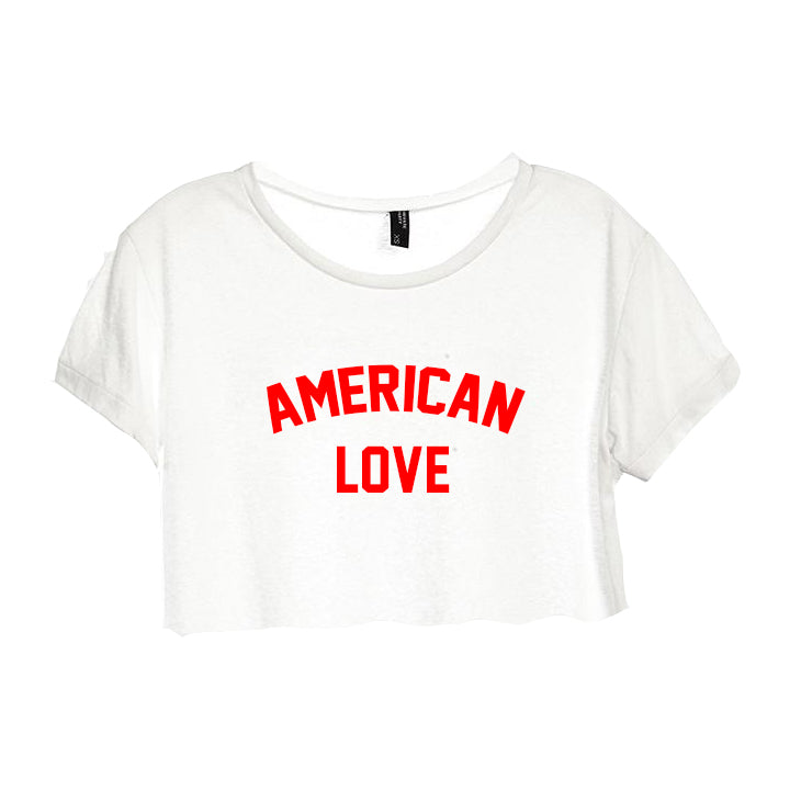 AMERICAN LOVE [DISTRESSED WOMEN'S CROP TEE]