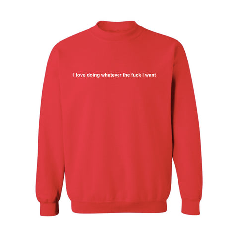 I LOVE DOING WHATEVER THE FUCK I WANT [UNISEX CREWNECK SWEATSHIRT]
