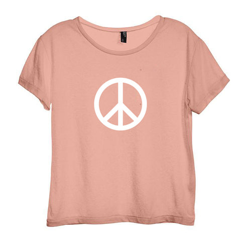 PEACE SYMBOL [DISTRESSED WOMEN'S 'BABY TEE']