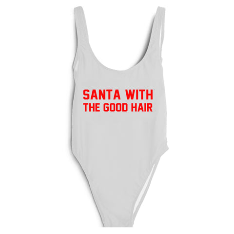 SANTA WITH THE GOOD HAIR [RED TEXT // SWIMSUIT]