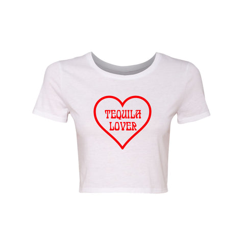TEQUILA LOVER W/ HEART [WOMEN'S CROP TEE]