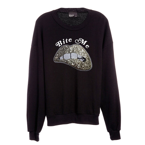 BITE ME [UNISEX CREWNECK SWEATSHIRT W/ GOLD LIP PATCH]