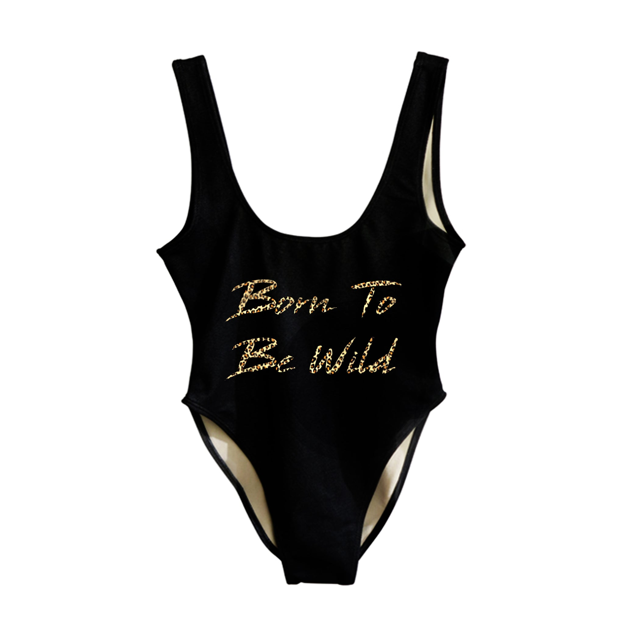 BORN TO BE WILD W/ CHEETAH TEXT  [SWIMSUIT]