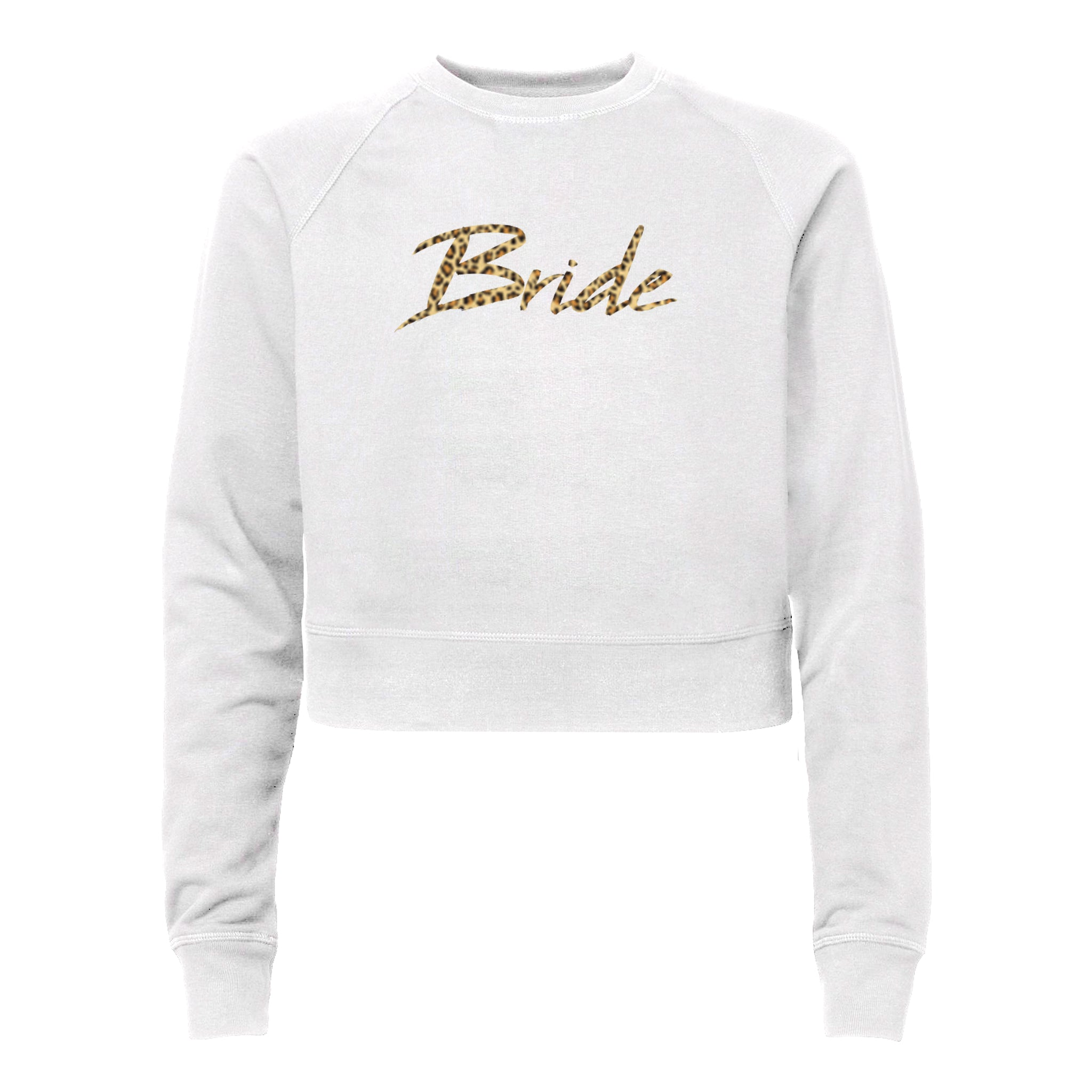 BRIDE W/ CHEETAH TEXT [WOMEN'S RAGLAN CROP CREWNECK SWEATSHIRT]