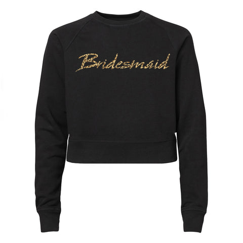BRIDESMAID W/ SNAKESKIN TEXT [WOMEN'S RAGLAN CROP CREWNECK SWEATSHIRT]