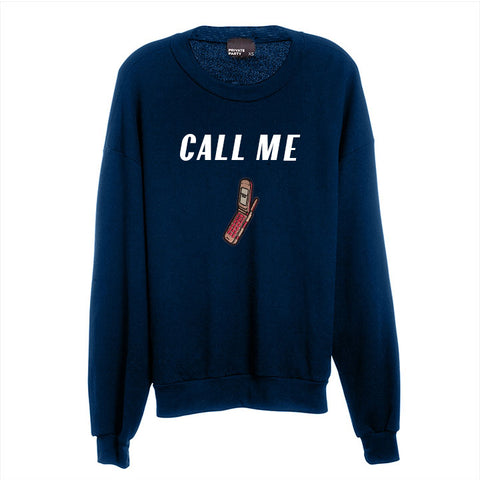 CALL ME [UNISEX CREWNECK SWEATSHIRT W/ PHONE PATCH]