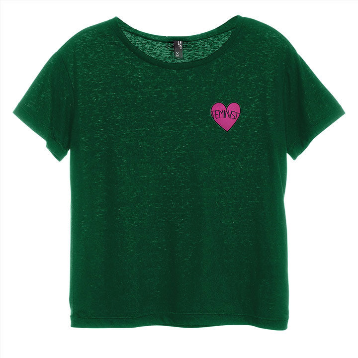 FEMINIST HEART PATCH [DISTRESSED WOMEN'S 'BABY TEE']